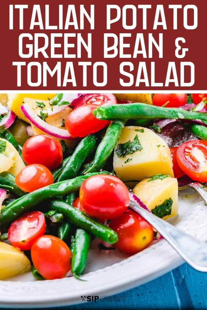 Potato green bean salad Pinterest image.