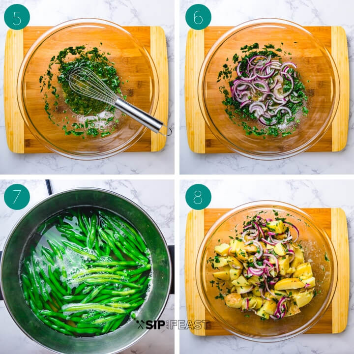 Potato green bean potato salad process shot collage group number two.