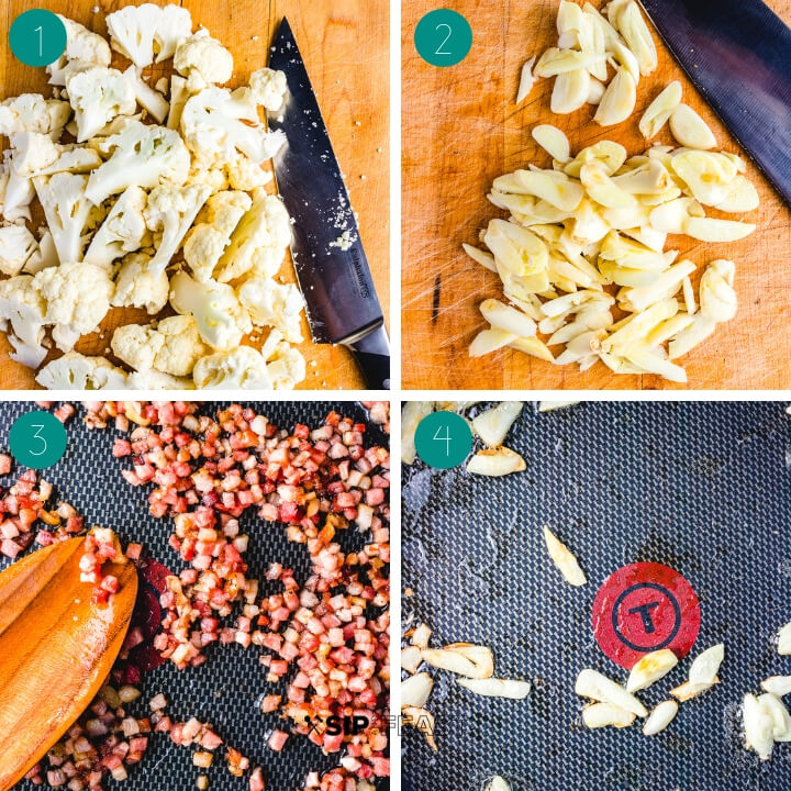 Rigatoni with cauliflower and bacon process shot collage group number one.