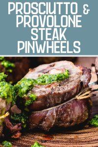 Steak pinwheels Pinterest image.