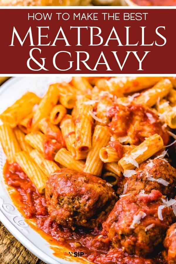 Meatballs and gravy Pinterest image.