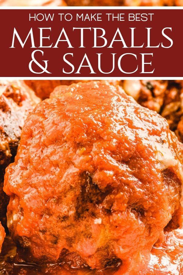 Italian meatballs and Sunday sauce Pinterest image.
