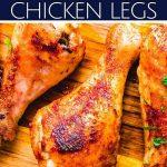 Crispy baked chicken legs Pinterest image.