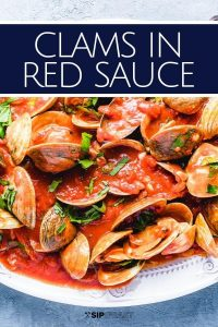 Clams in red sauce Pinterest image.