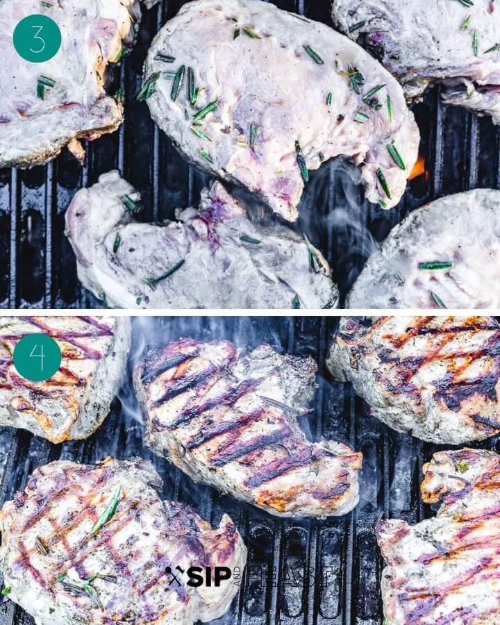 Recipe process shot collage. Shot 1: pork chops on grill. Shot 2: pork chops on grill with dark grill marks.