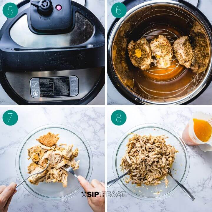 Instant Pot pulled pork recipe process shot collage group number two.