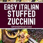 Ricotta stuffed zucchini Pinterest image.