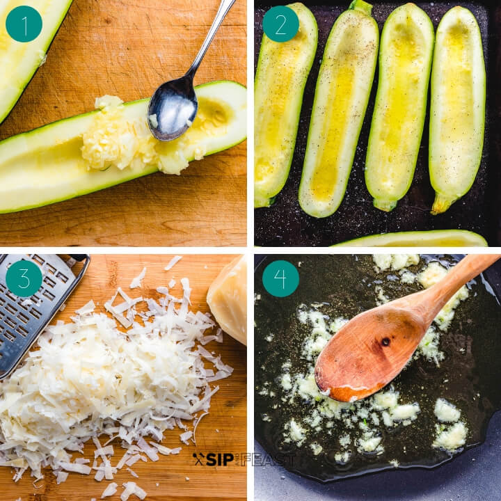 Ricotta stuffed zucchini recipe process shot collage group number one.