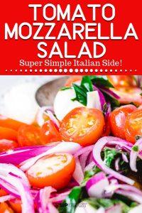 Tomato mozzarella salad Pinterest image.