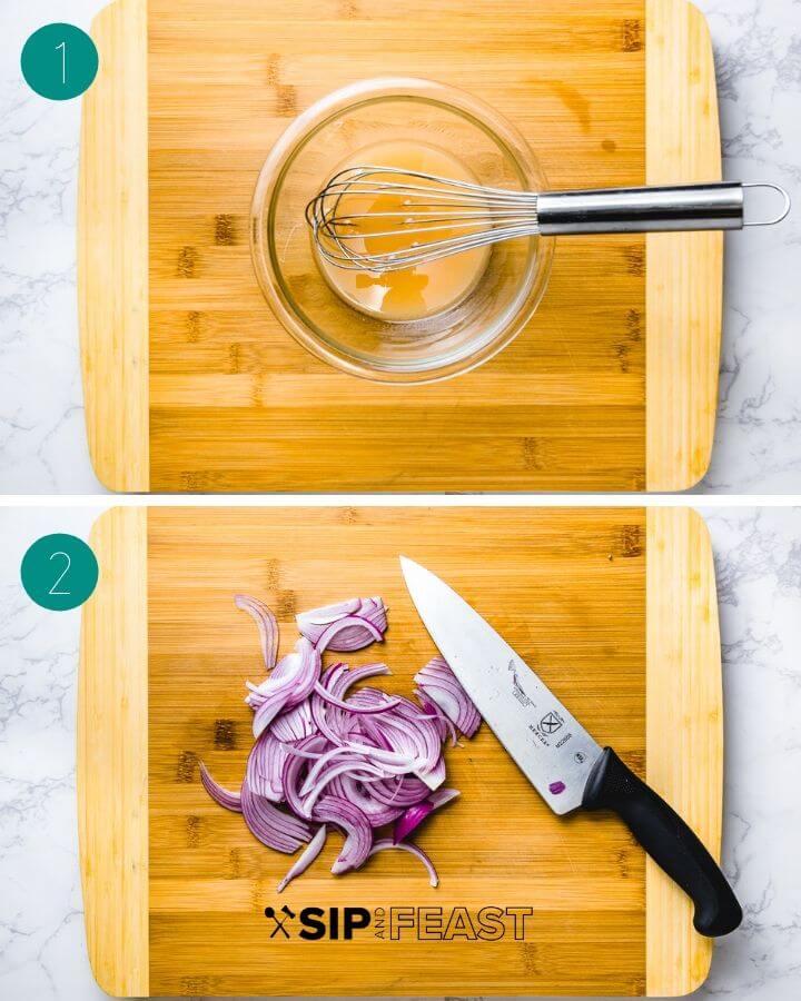 Italian tomato salad recipe process shot collage group one.