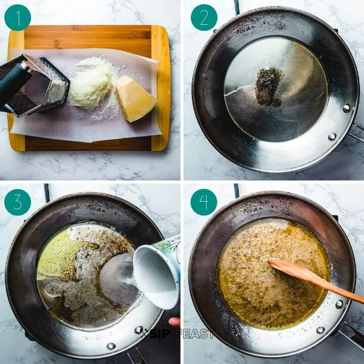 Cacio e pepe process shot collage group number one.