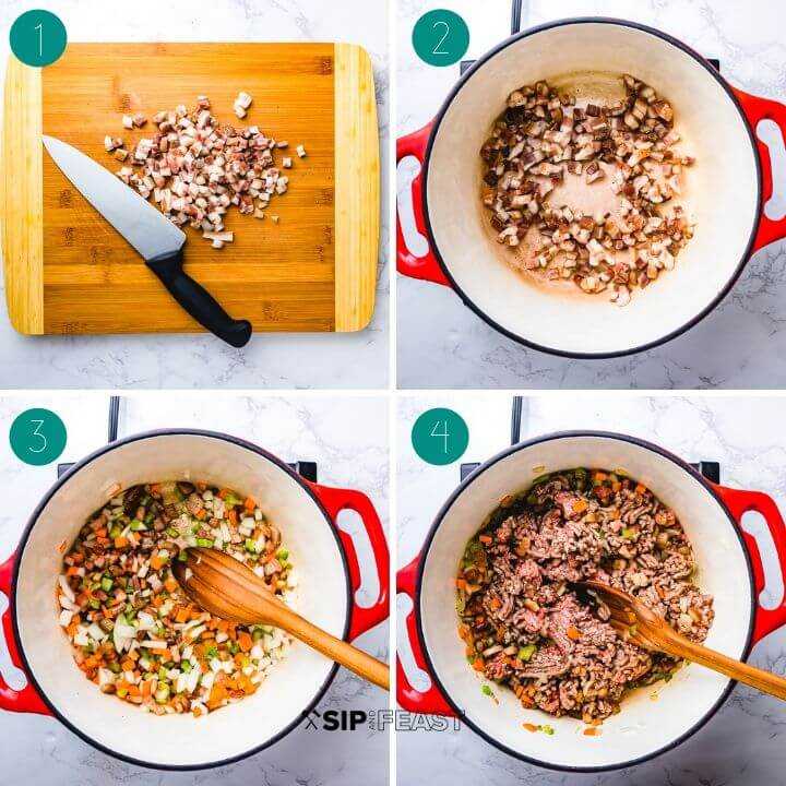 Authentic bolognese recipe process shot collage group number one.