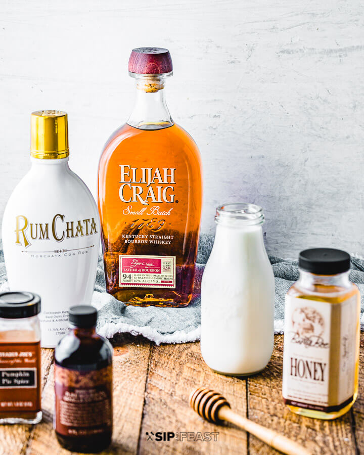 Ingredients shown: Rumchata, bourbon, milk, honey, pumpkin spice, and vanilla extract.