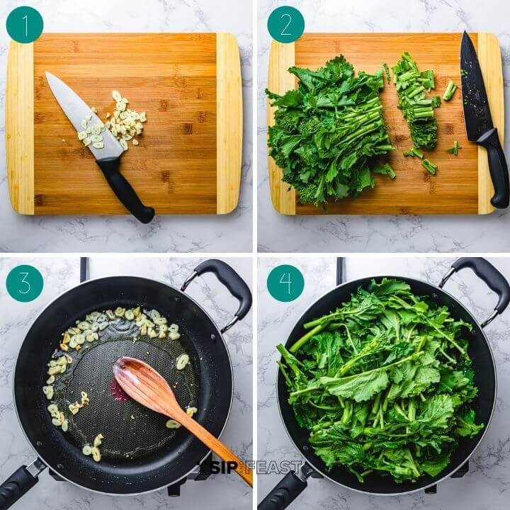 Sauteed broccoli rabe recipe process shot collage group number one.