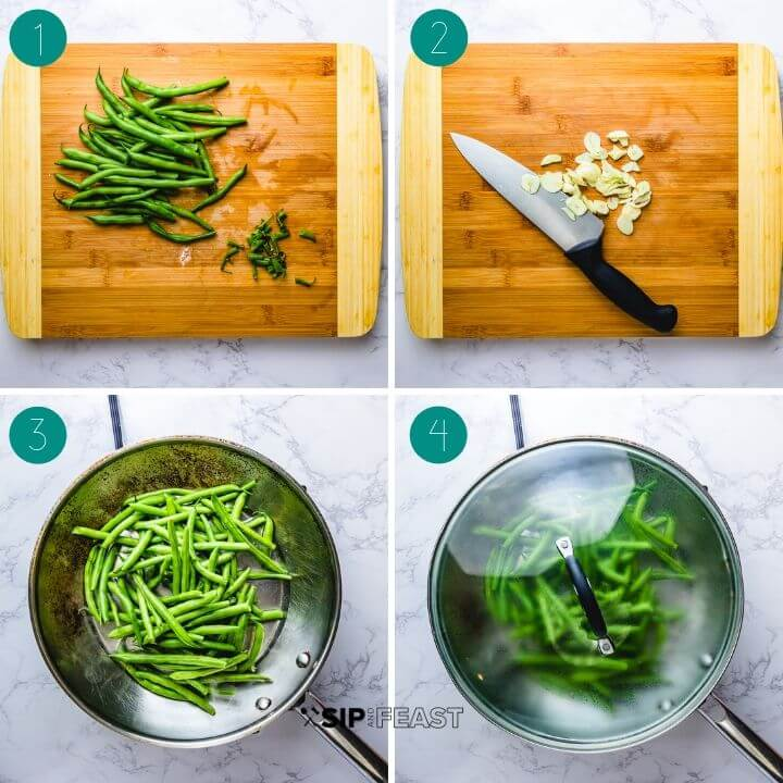 Italian green beans with garlic and oil process shot collage group number one.