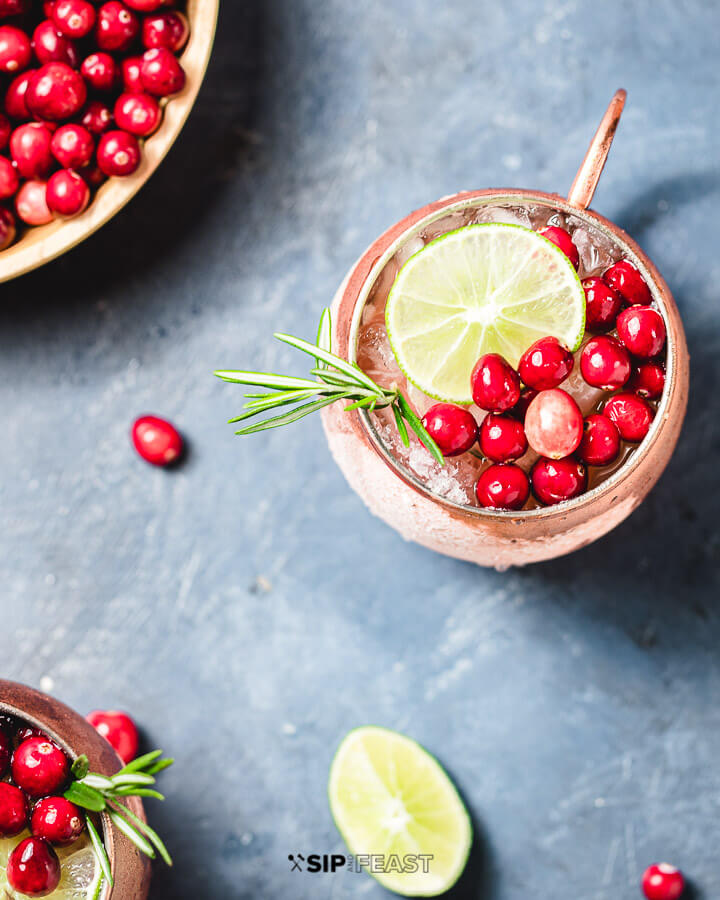 Overhead shot of cranberry mule cocktail on blue background.