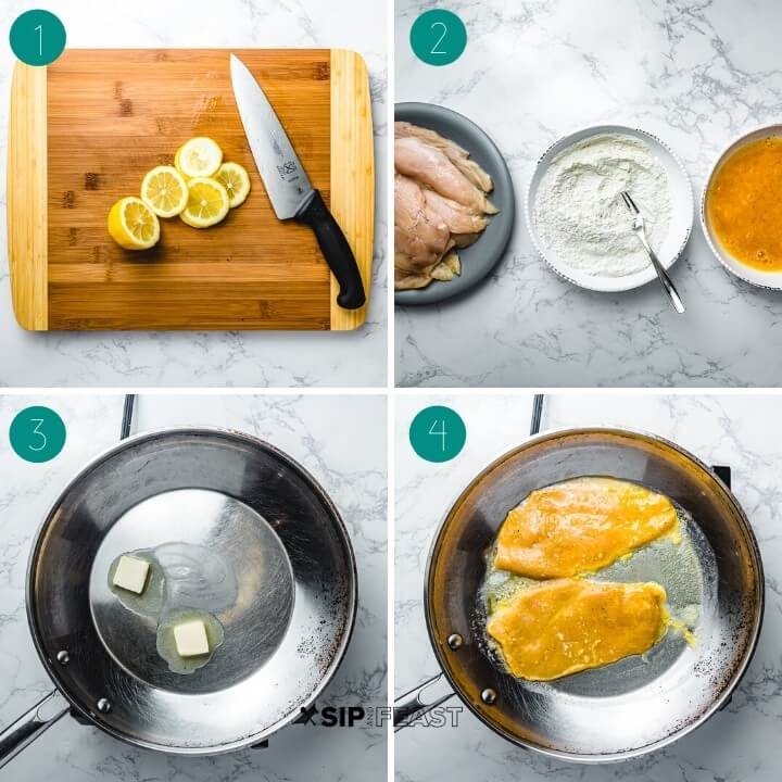 Chicken Francese recipe process shot collage group number one.