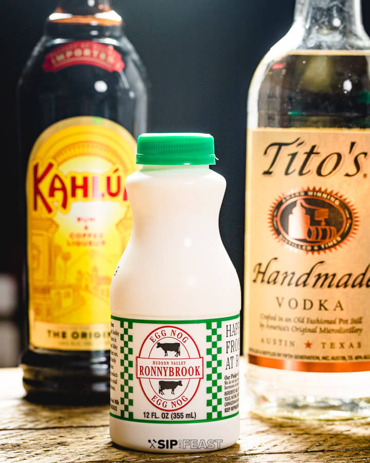 Bottles of vodka, Kahlua, and Eggnog.