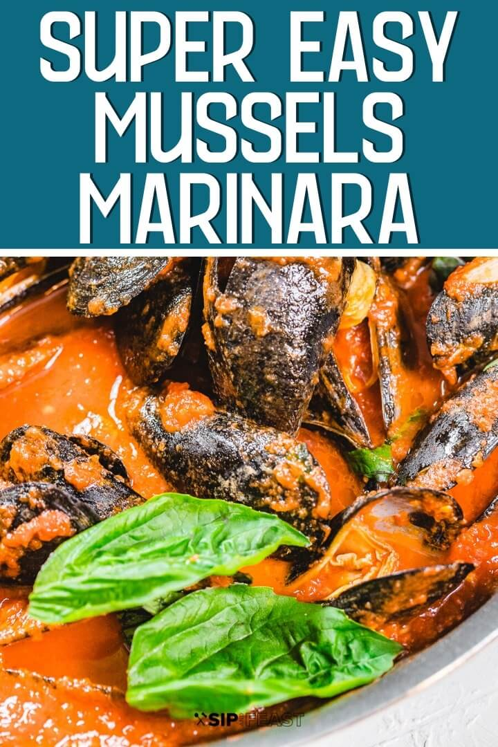 Mussels marinara Pinterest image.