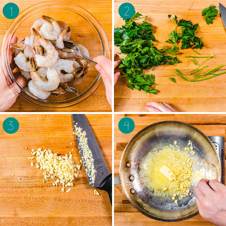 Shrimp scampi recipe process shot collage group number one.