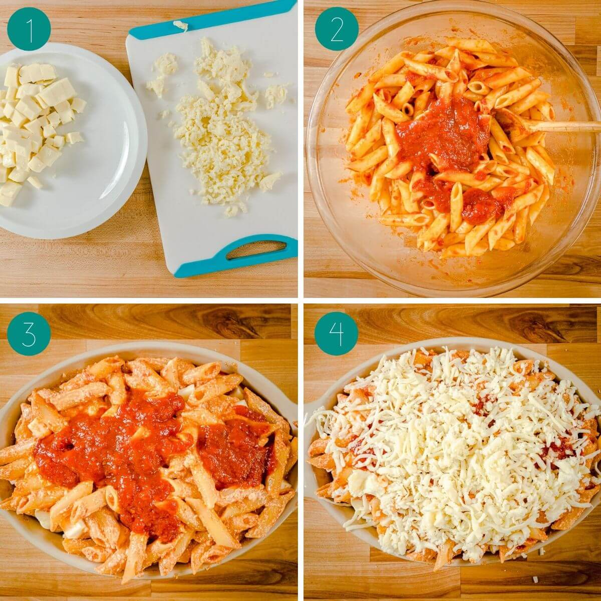 Baked ziti recipe process shot collage.