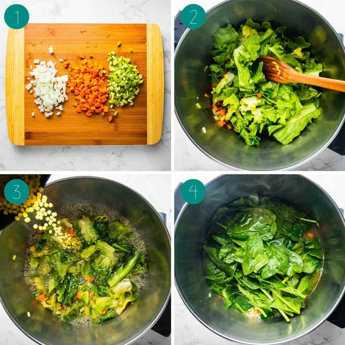 Italian wedding soup recipe process shot collage.