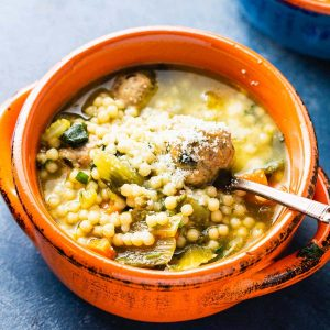 Italian wedding soup featured image.