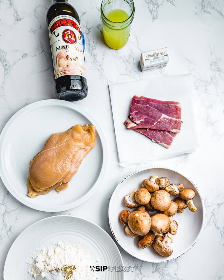 Ingredients shown: Marsala wine, chicken stock, butter, chicken cutlets, smoked prosciutto, mushrooms, and flour.