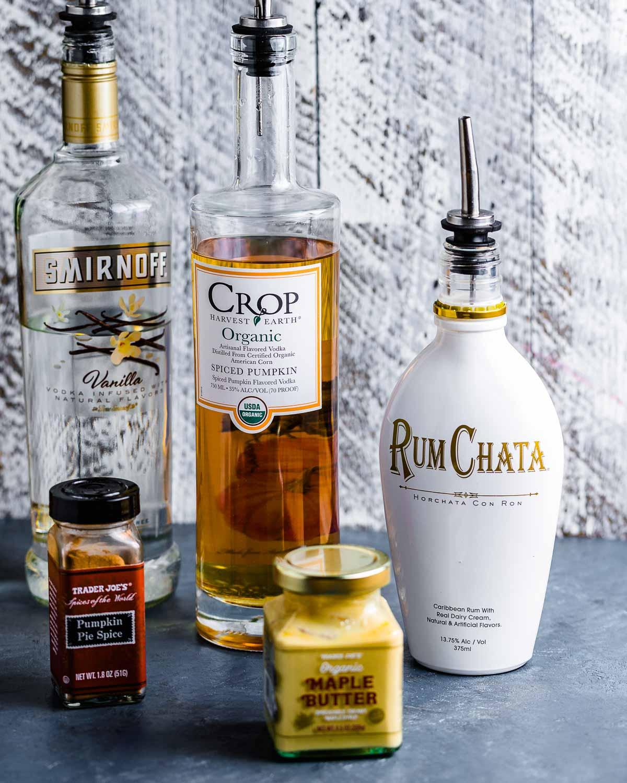 Ingredients shown: vanilla vodka, pumpkin vodka, Rum Chata, pumpkin pie spice, and maple butter.