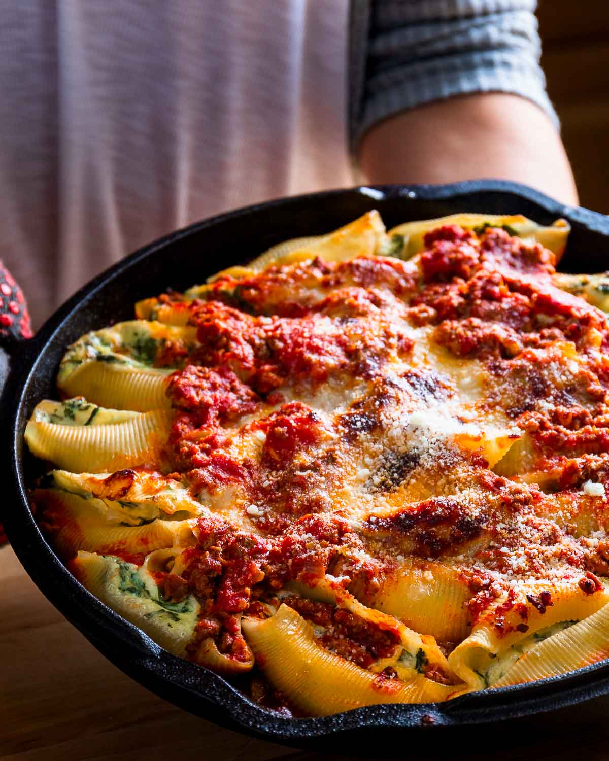 Stuffed shells in cast iron pan.