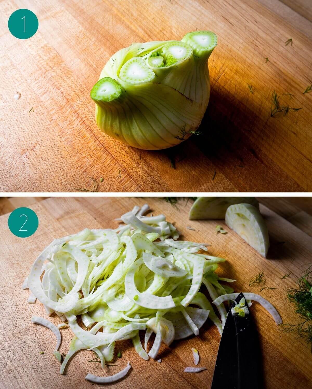 Fennel and orange salad recipe process shot collage group number 1.