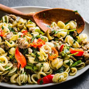 Orecchiette with sausage and broccoli rabe featured image.