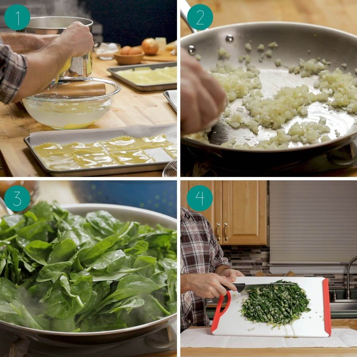 Spinach Lasagna rolls with white sauce recipe process shot collage group number one.