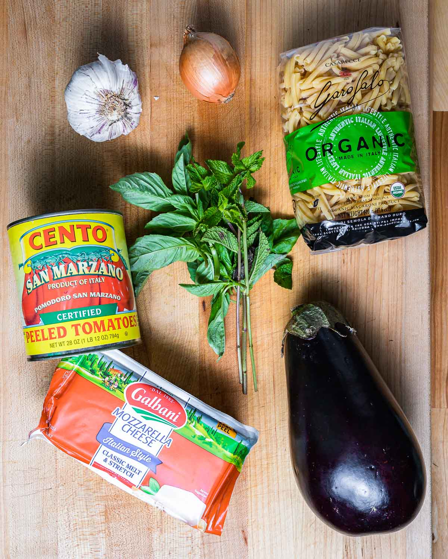 Ingredients shown: garlic, onion, casarecce pasta, plum tomatoes, basil, mint, mozzarella, and large eggplant.