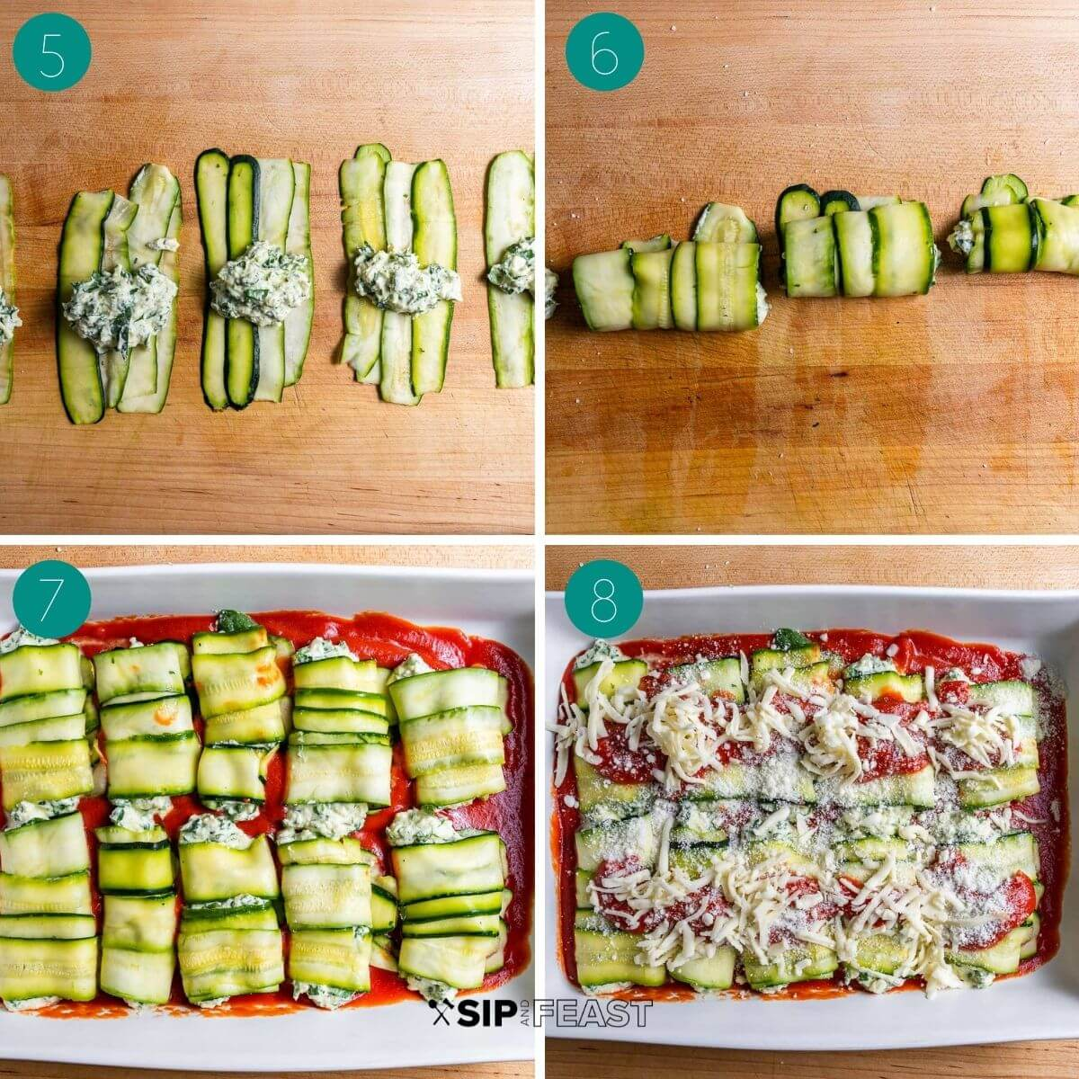Zucchini rollatini recipe process shot collage group number two.