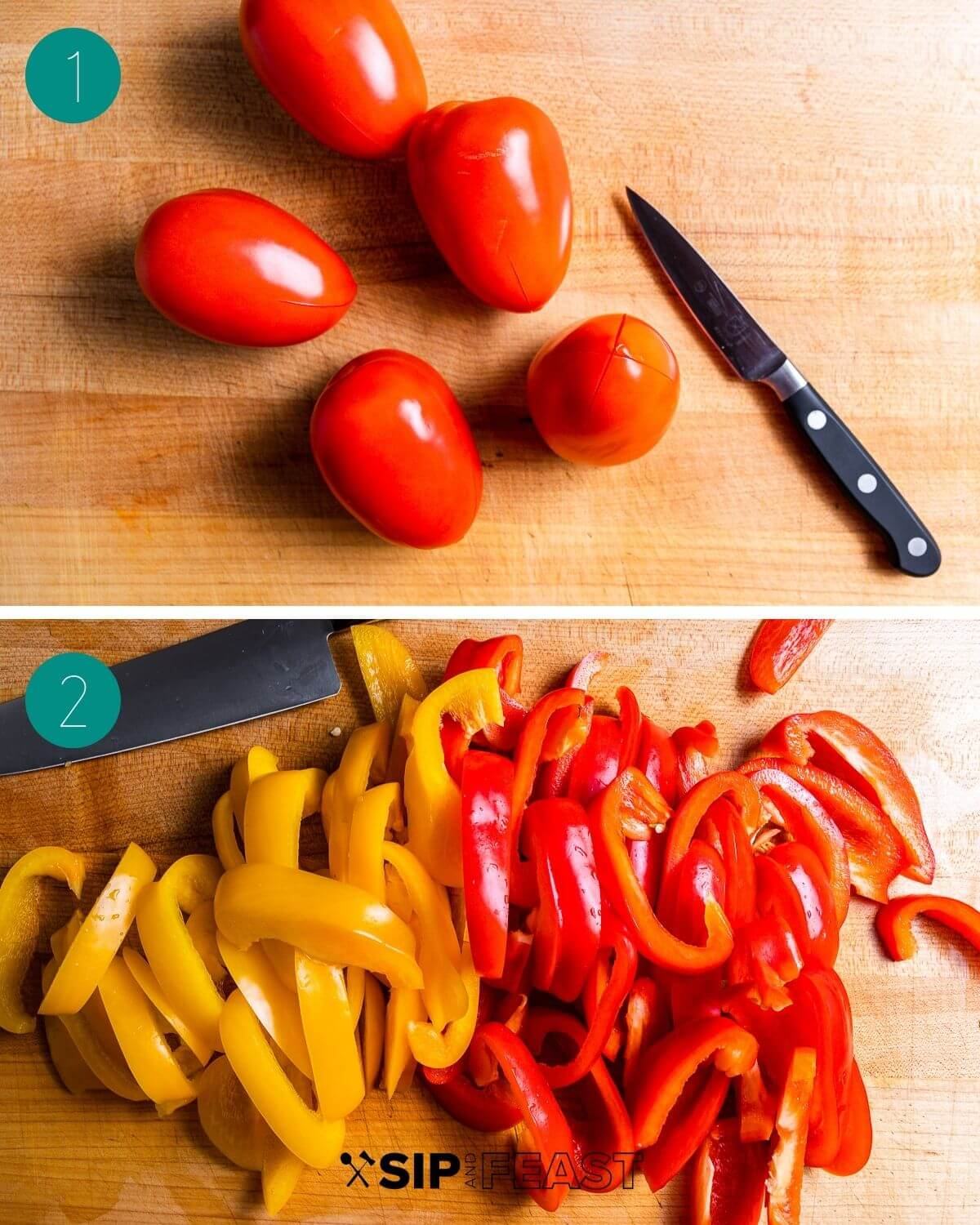 Peperonata recipe process shot collage group number one.