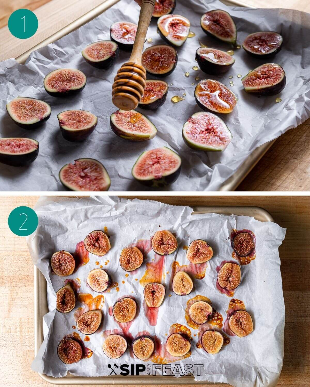 Roasted fig salad process shot collage group number one.