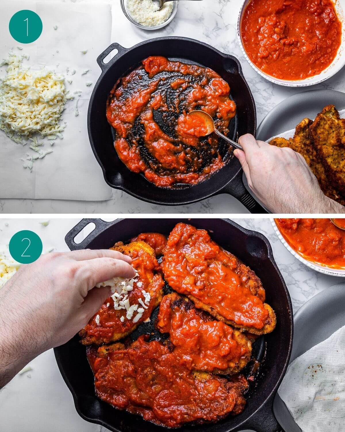 Chicken parmigiana recipe process shot collage group number one.