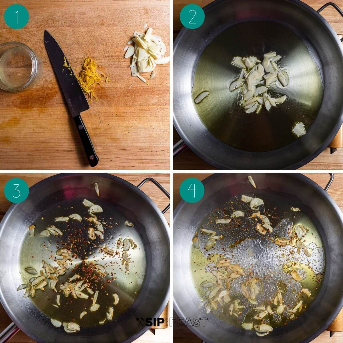Lemon arugula pasta recipe process shot collage group number one.