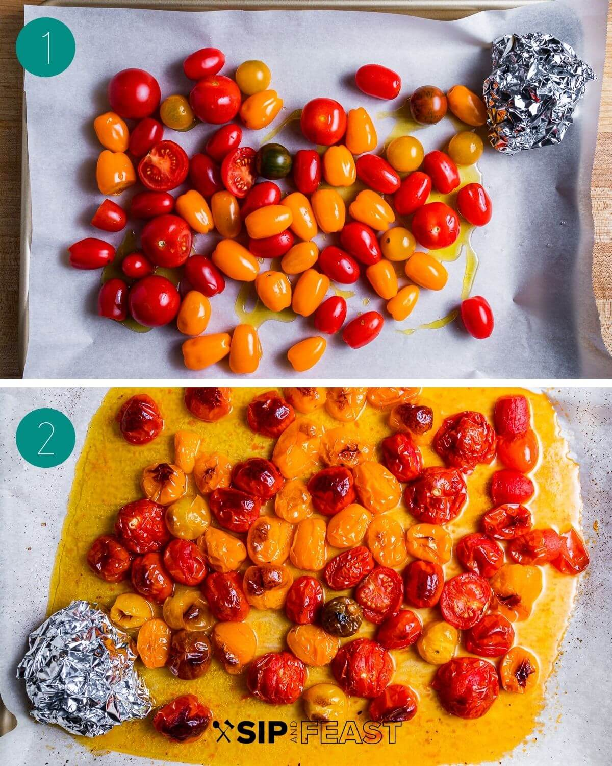 Roasted cherry tomato pasta recipe process shot collage group number one.