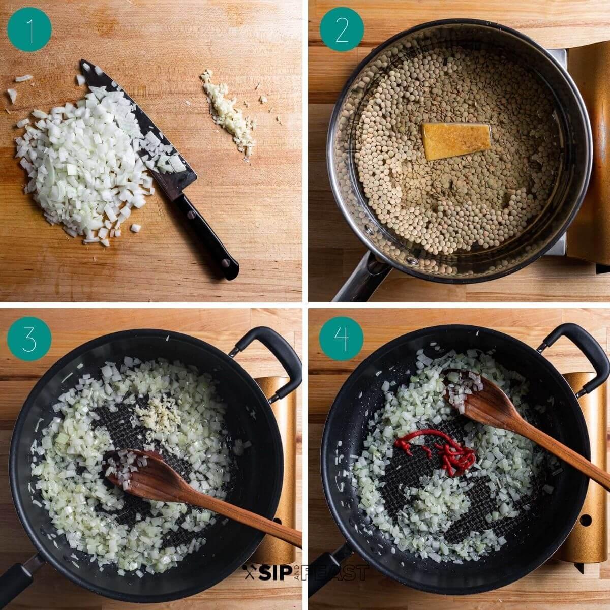 Pasta e lenticchie recipe process shot collage group number one.