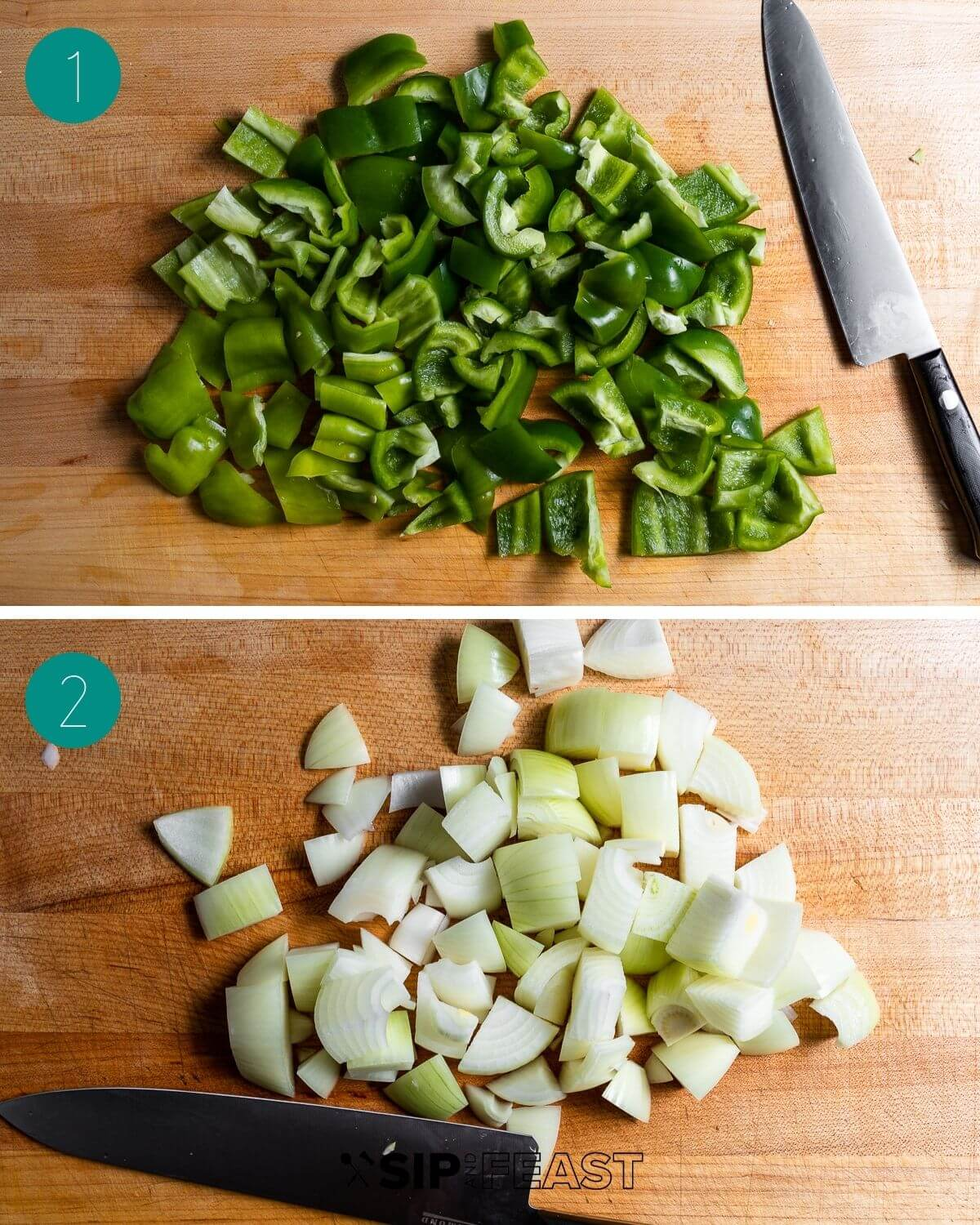 Pepper and egg sandwich recipe process shot collage group number one.