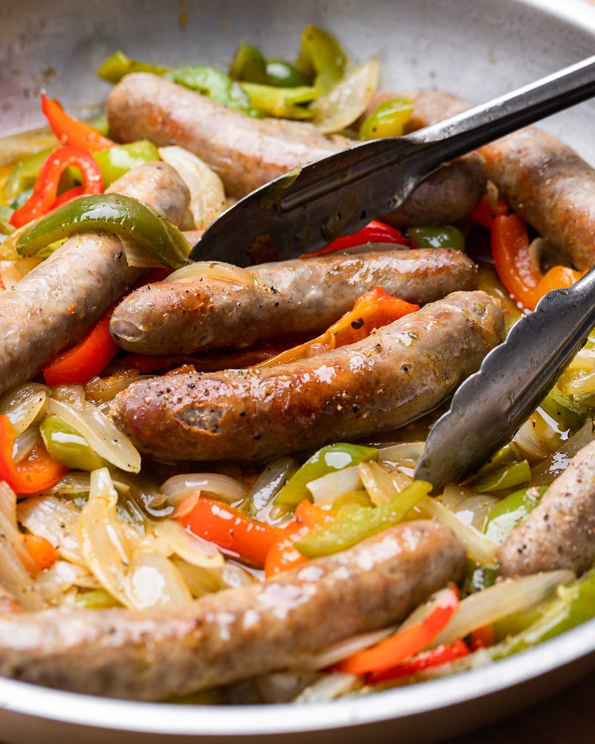 Pan of sausage and peppers.