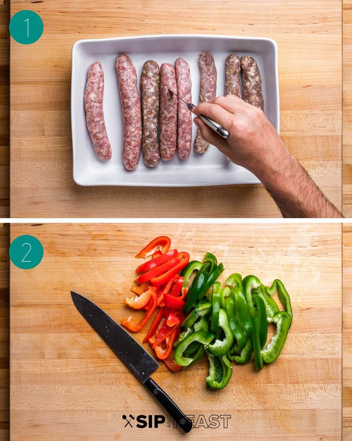 Sausage and peppers recipe process shot collage group number one.