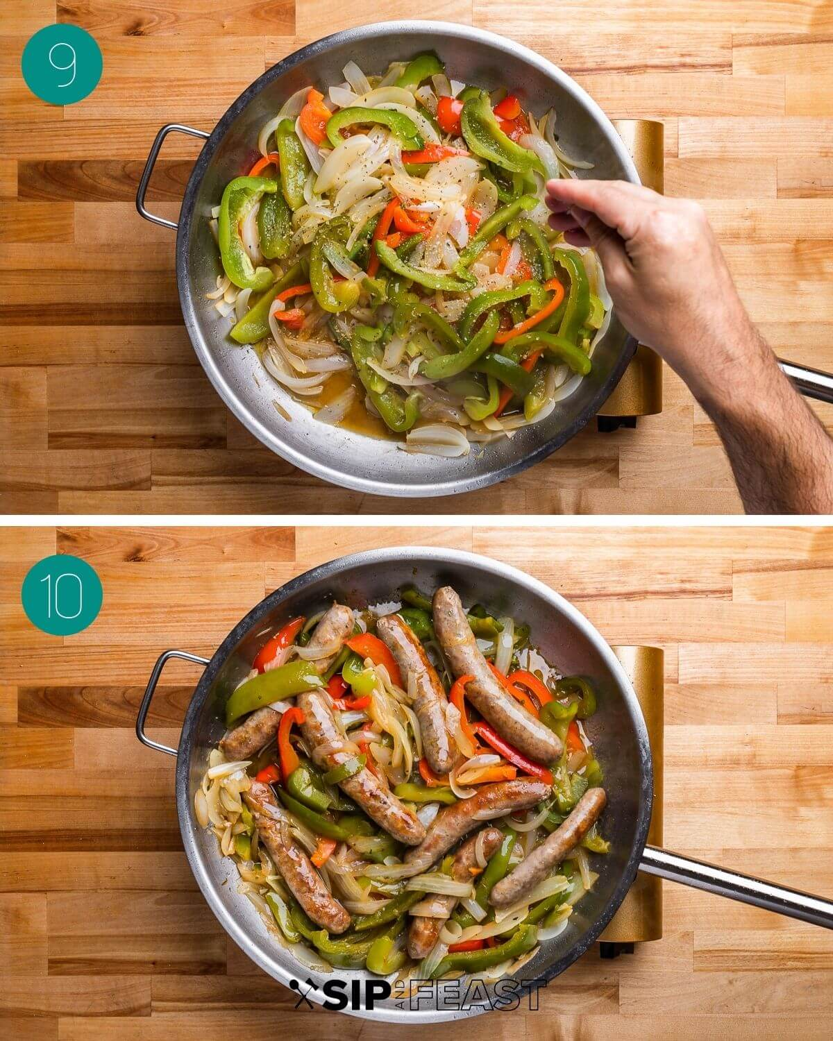 Sausage and peppers recipe process shot collage group number five.