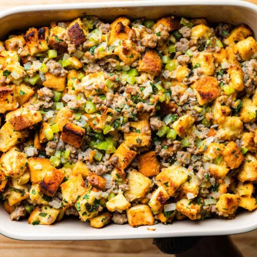 Italian sausage stuffing with parmesan cheese featured image.