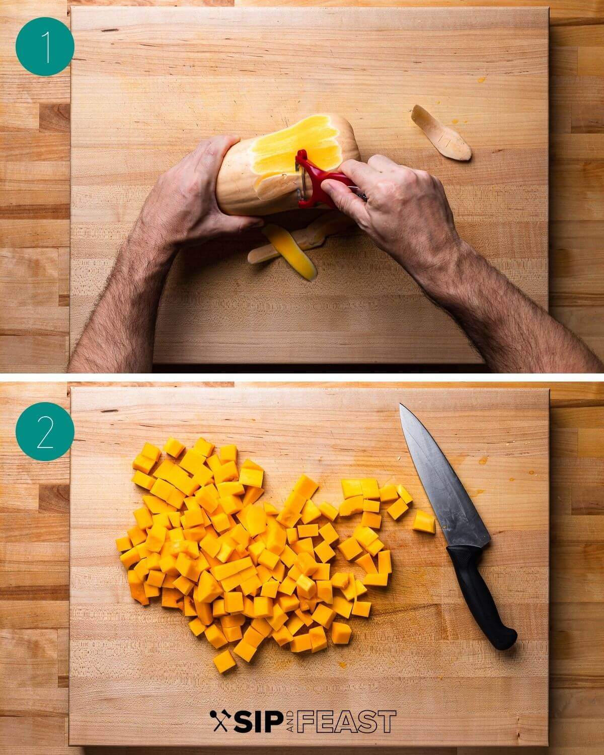 Baked butternut squash pasta recipe process collage group number one.