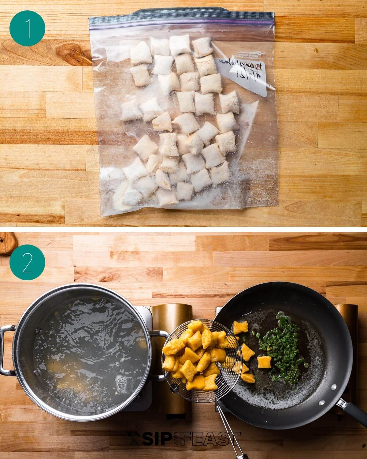 Butternut squash gnocchi cooking process collage group number one.