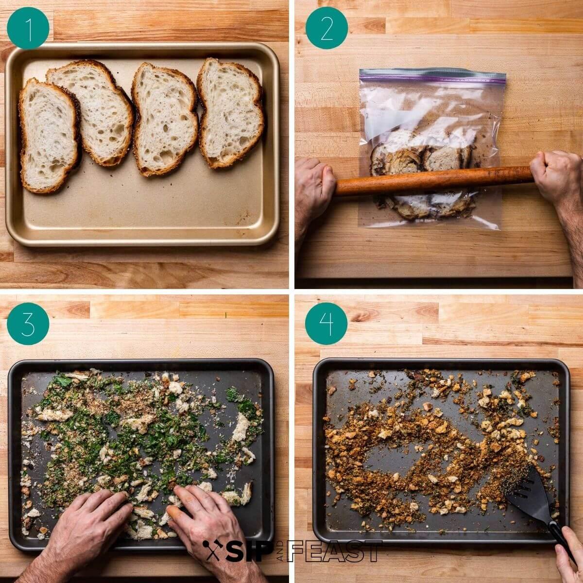 Butternut squash parmigiana breadcrumbs process shot collage.