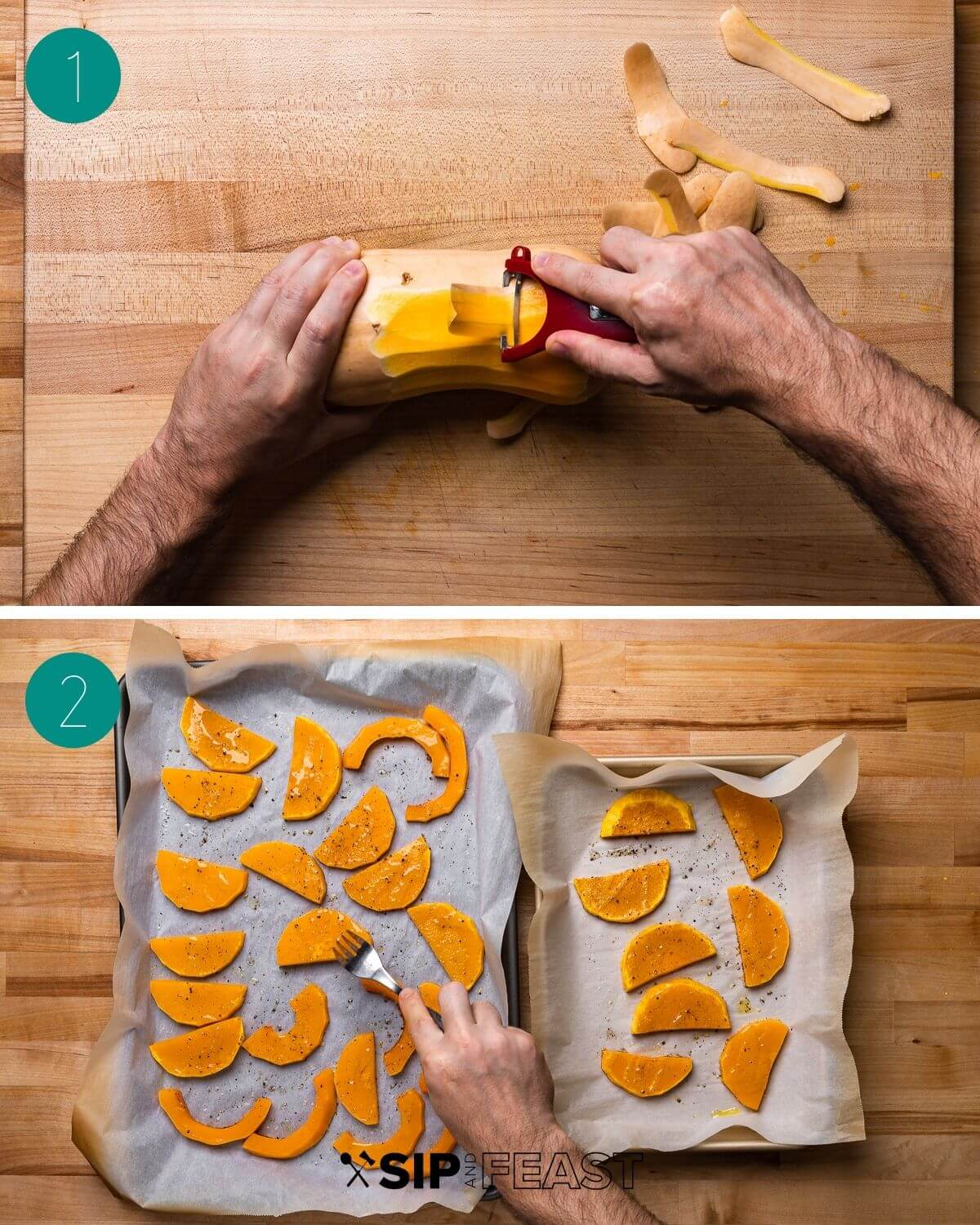Butternut squash parmigiana recipe process shot collage group number one.